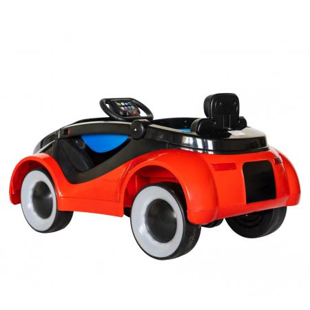 Masinuta electrica cu lumini LED pentru copii, telecomanda, player muzica USB si lumini, culoare rosu [3]