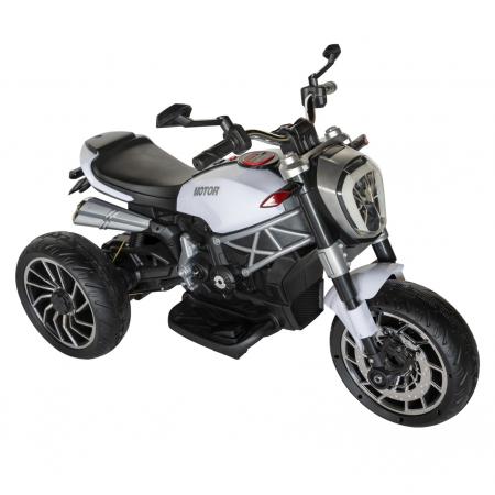 Motocicleta electrica copii Rich Baby cu acumulator, muzica si lumini, culoare alb/negru [0]