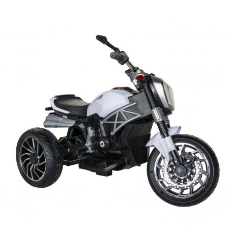 Motocicleta electrica copii Rich Baby cu acumulator, muzica si lumini, culoare alb/negru [1]