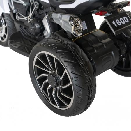 Motocicleta electrica copii Rich Baby cu acumulator, muzica si lumini, culoare alb/negru [5]