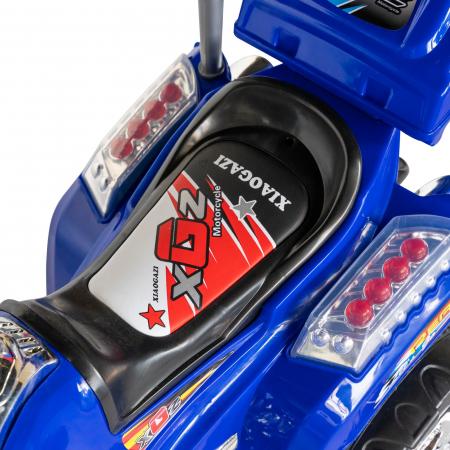 Motocicleta electrica copii Rich Baby cu baterie, muzica si girofar, culoare albastru [9]