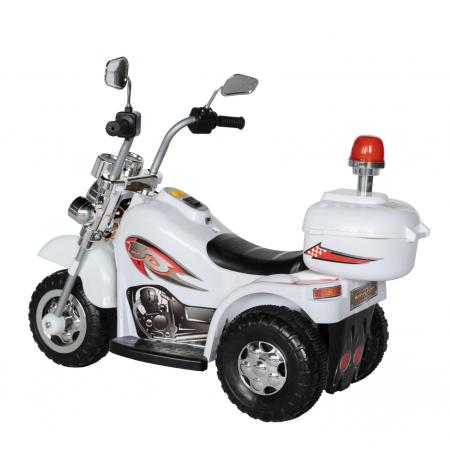 Motocicleta electrica Rich Baby copii cu acumulator, muzica si lumini, culoare alb [4]