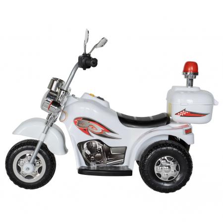 Motocicleta electrica Rich Baby copii cu acumulator, muzica si lumini, culoare alb [3]