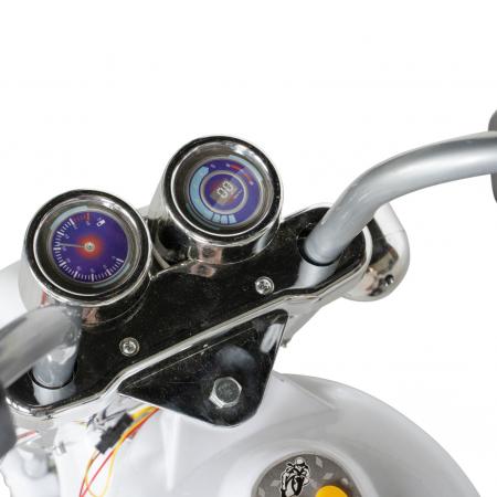 Motocicleta electrica Rich Baby copii cu acumulator, muzica si lumini, culoare alb [7]