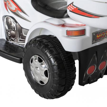 Motocicleta electrica Rich Baby copii cu acumulator, muzica si lumini, culoare alb [5]