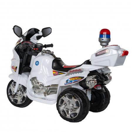 Motocicleta electrica Rich Baby copii cu baterie, muzica si girofar, culoare alb [3]