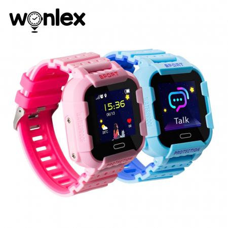 Pachet Promotional 2 Smartwatch-uri Pentru Copii Wonlex KT03 cu Functie Telefon, Localizare GPS, Camera, Pedometru, SOS, IP54 ; Roz + Albastru, Cartela SIM Cadou [2]