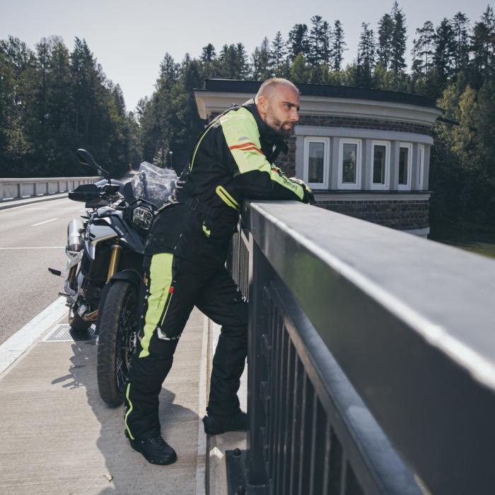 Geaca Moto Barbati W-Tec Ventura Negru/Galben Florescent [11]