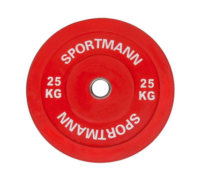 Greutate Cauciuc Bumper Plate SPORTMANN - 25 kg / 51 mm - Rosu [1]