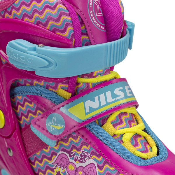 Role reglabile Nils NJ4613 cu roti LED- roz [10]