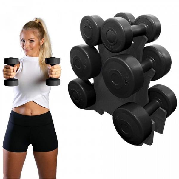 Set gantere 12 kg, suport inclus, TheWay Fitness [1]