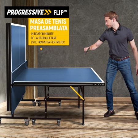 Masa ping pong PROGRESSIVE Flip TT 180i OCEAN BLUE [2]