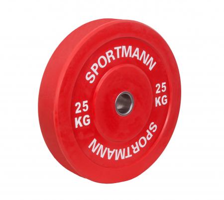 Greutate Cauciuc Bumper Plate SPORTMANN - 25 kg / 51 mm - Rosu [0]