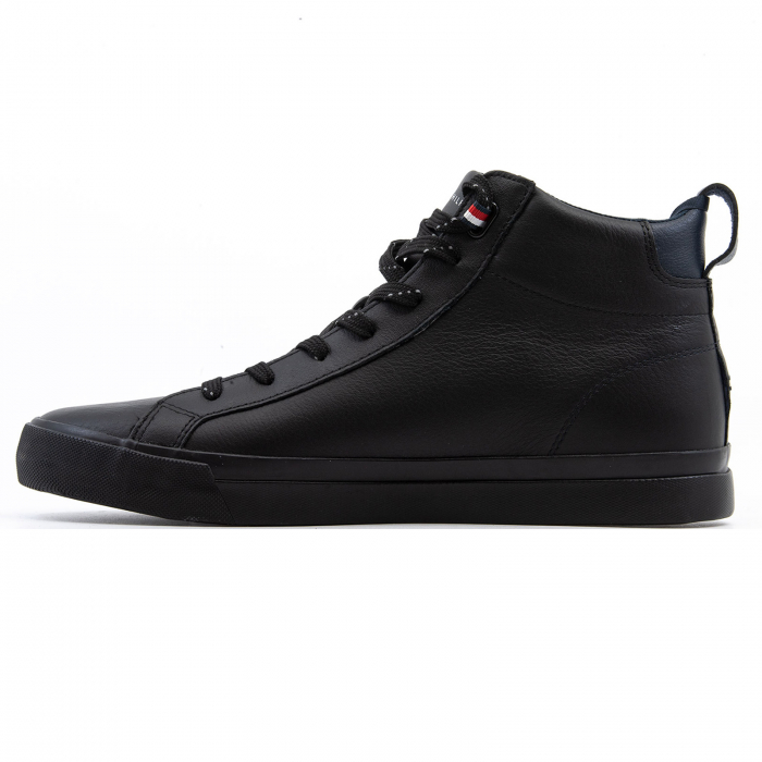 Flag Detail Leather Sneaker High 1