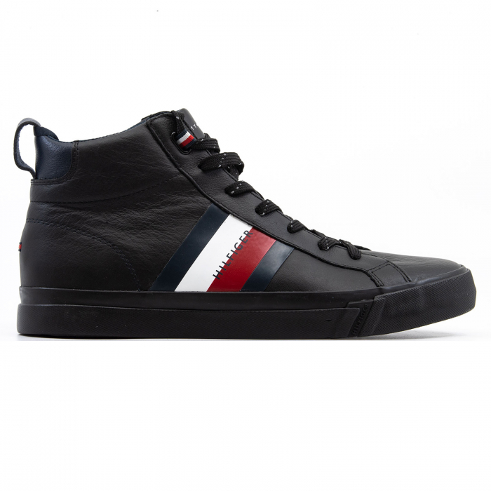 Flag Detail Leather Sneaker High 0