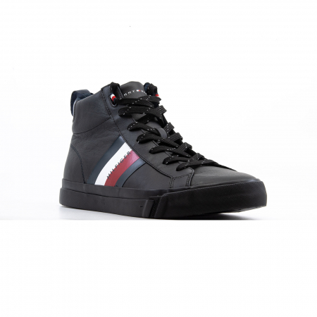 Flag Detail Leather Sneaker High2