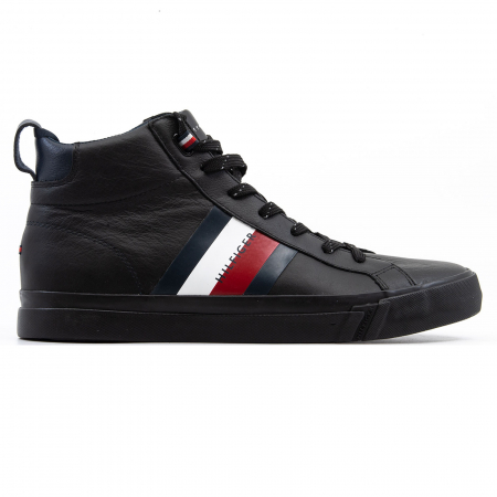 Flag Detail Leather Sneaker High0