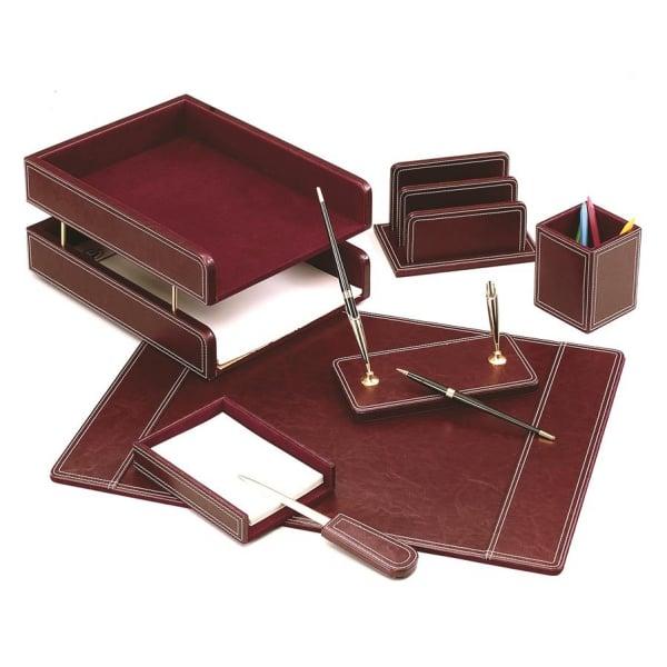 Set de birou din piele eco visinie - 7 elemente Forpus [0]