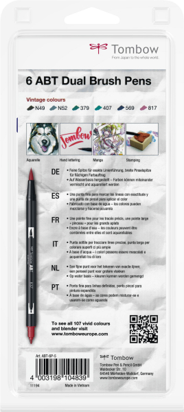 Set 6 Culori Vintage ABT Dual Brush Pen Tombow [3]