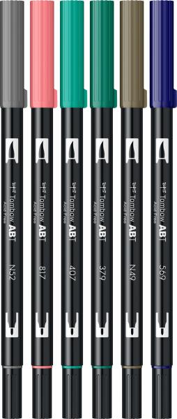Set 6 Culori Vintage ABT Dual Brush Pen Tombow [2]