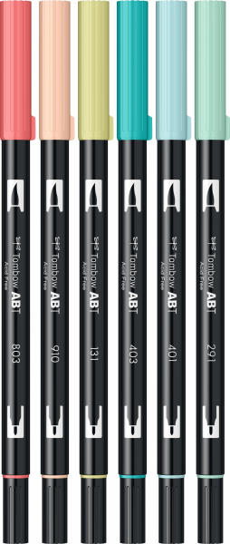 Set 6 Culori Pastel Dual Brush Pen Tombow [1]