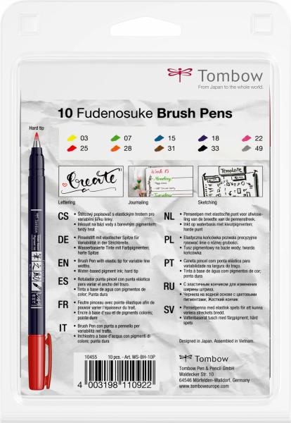 Fudenosuke Small Writing Vivid Colour Hard, Set 10 Culori Tombow [3]