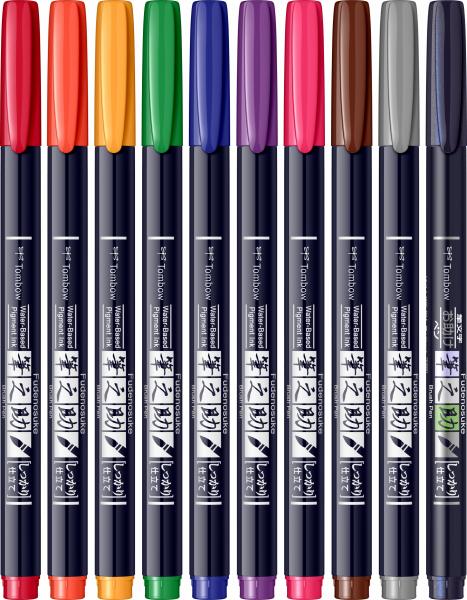 Fudenosuke Small Writing Vivid Colour Hard, Set 10 Culori Tombow [1]