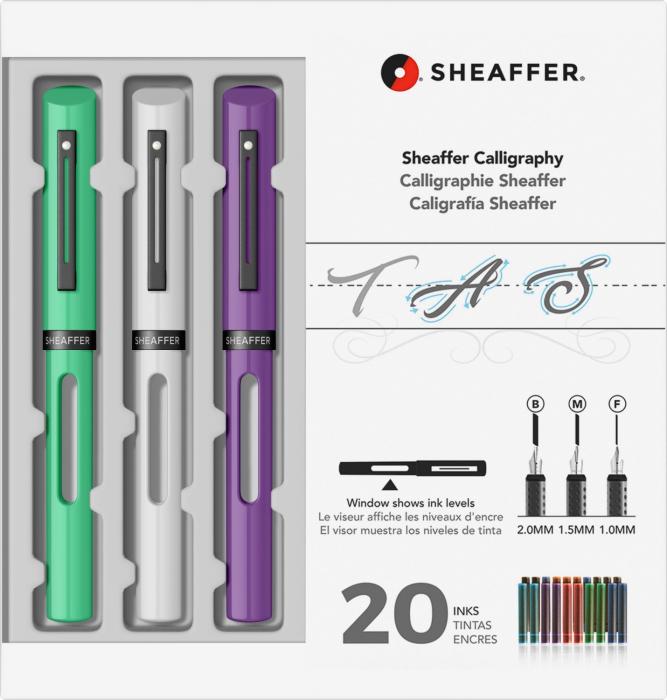 Set Caligrafie Sheaffer Maxi Calligraphy [1.0 - 1.5 - 2.0 Lime - White - Purple CT] [0]