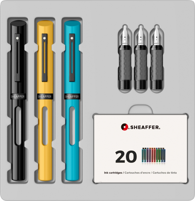 Set Caligrafie Sheaffer Maxi Calligraphy  [1.0 - 1.5 - 2.0 Black - Yellow - Blue CT] [3]