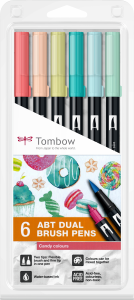 Set 6 Culori Pastel Dual Brush Pen Tombow [0]