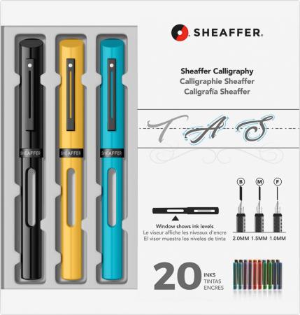 Set Caligrafie Sheaffer Maxi Calligraphy  [1.0 - 1.5 - 2.0 Black - Yellow - Blue CT] [0]