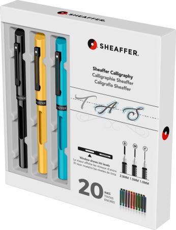 Set Caligrafie Sheaffer Maxi Calligraphy  [1.0 - 1.5 - 2.0 Black - Yellow - Blue CT] [2]