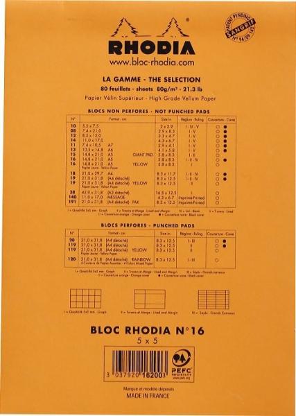 Blocnotes RHODIA No.16, Orange A5, 80 file, patratele 1