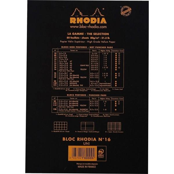 Blocnotes RHODIA No.16, Black A5, 80 file, velin 2