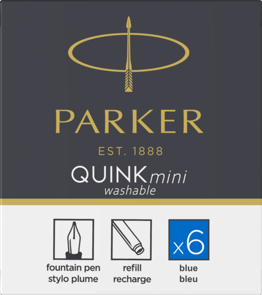 Patroane cerneala mini Parker Quink Washable Blue, set de 6 buc. 0
