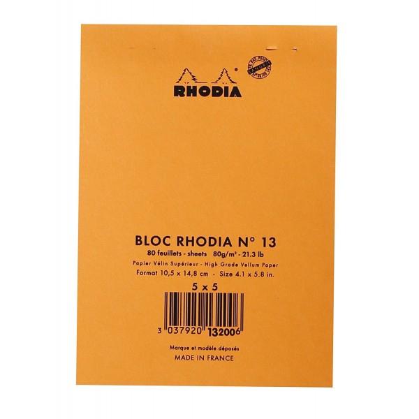 Blocnotes RHODIA No.13, Orange A6, 80 file, patratele 1