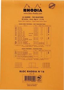 Blocnotes RHODIA No.16, Orange A5, 80 file, patratele1
