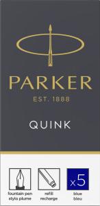 Patroane cerneala lungi Parker Quink Blue, set de 5 buc. [1]