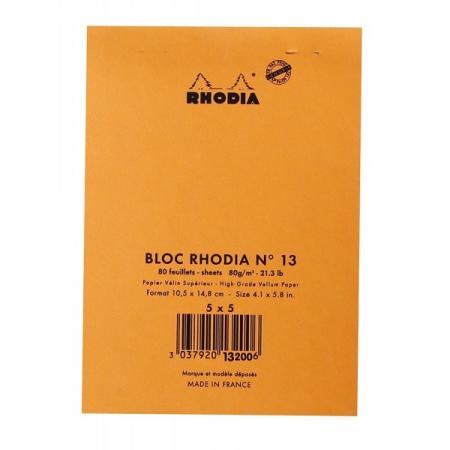 Blocnotes RHODIA No.13, Orange A6, 80 file, patratele1