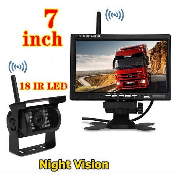 "Kit marsarier wireless cu camera si display de 7"" 12V~24V, K611W pentru Camioane, Autocare, Bus-uri [1]"