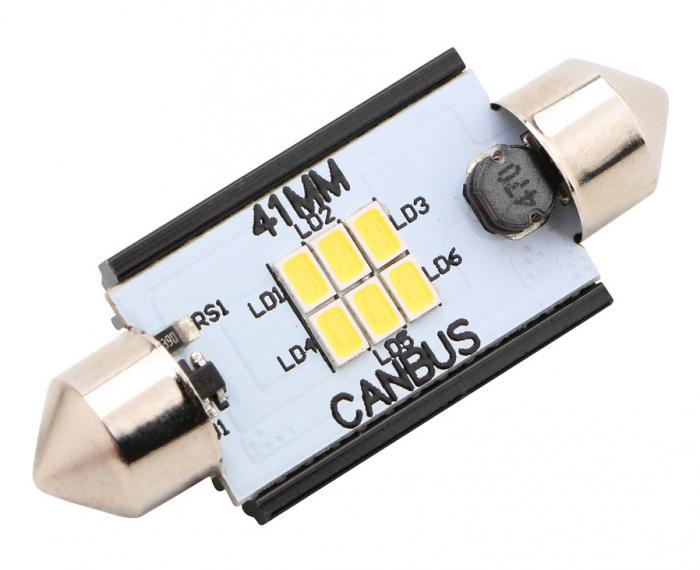 Led Auto Sofit 41mm Canbus 6 SMD 3020 fara polaritate - BTLE1276-41 [0]