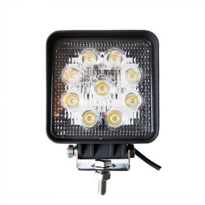 Proiector LED Auto Offroad 27W/12V-24V, 1980 Lumeni, Patrat, Spot Beam 30 Grade [0]