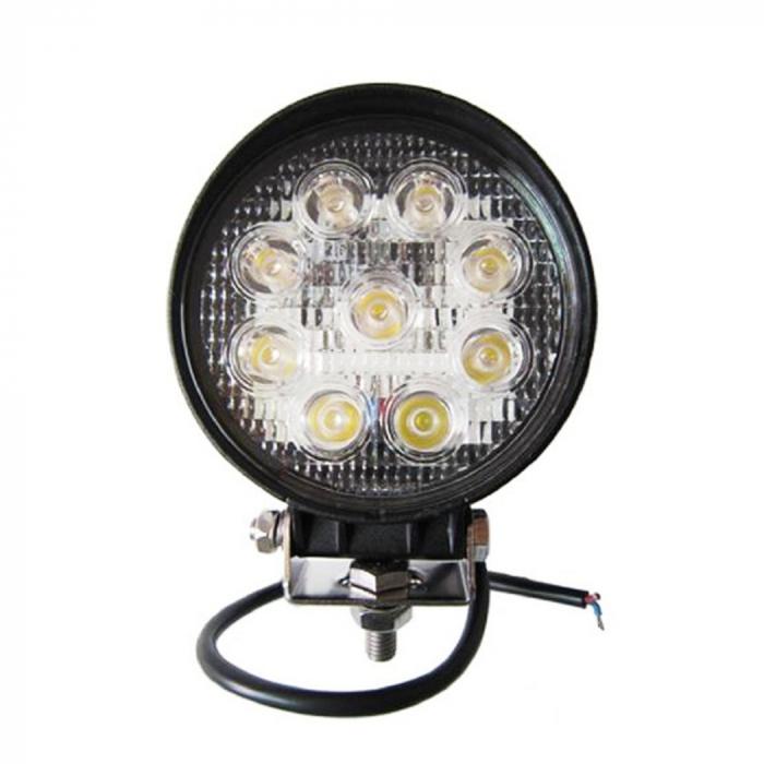 Proiector LED Auto Offroad 27W/12V-24V, 1980 Lumeni, Rotund, Spot Beam 30 Grade [0]