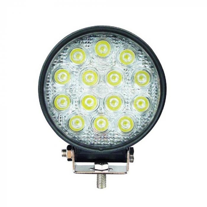 Proiector LED Auto Offroad 42W/12V-24V, 3080 Lumeni, Rotund, Flood Beam 60 Grade [0]