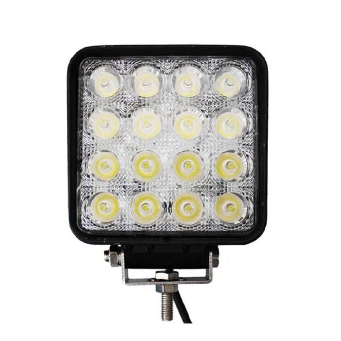 Proiector LED Auto Offroad 4D 48W/12V-24V, 3520 Lumeni, Patrat, Spot Beam 30 Grade [0]