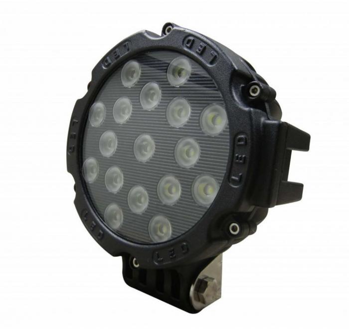 Proiector LED Auto Offroad 51W/12V-24V, 3740 Lumeni, Negru, Flood Beam 60 Grade [0]