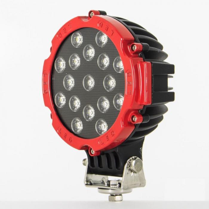 Proiector LED Auto Offroad 51W/12V-24V, 3740 Lumeni, Rosu, Spot Beam 30 Grade [0]