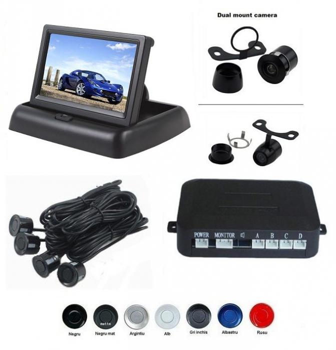 "Senzori parcare cu camera video si display LCD de 4.3"" pliabil S612-P [0]"