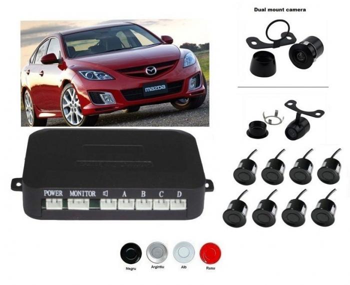 Senzori parcare fata spate cu camera video fata (nu este inclusa) si camera video marsarier (inclusa) fara display S600-8 [0]