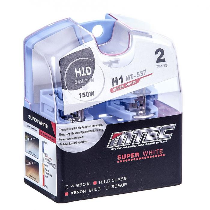 Set 2 becuri auto H1 24V 70W Mtec super white - Xenon effect [0]